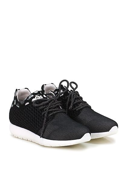 Andia Fora - Sneakers - Donna - Sneaker in tessuto tecnico, retina con glitter e tessuto lavorato con suola in gomma. Tacco 30, platform 15 con battuta 15. - NERO\SILVER