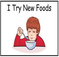 I Try New Foods Folder Story - site with social story folders.  They also have file folder games, adapted books, printable books, preschool activities and autism tasks.  Some items are free.