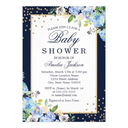 Gold Blue floral Sparkle Baby Shower Invite - floral style flower flowers stylish diy personalize