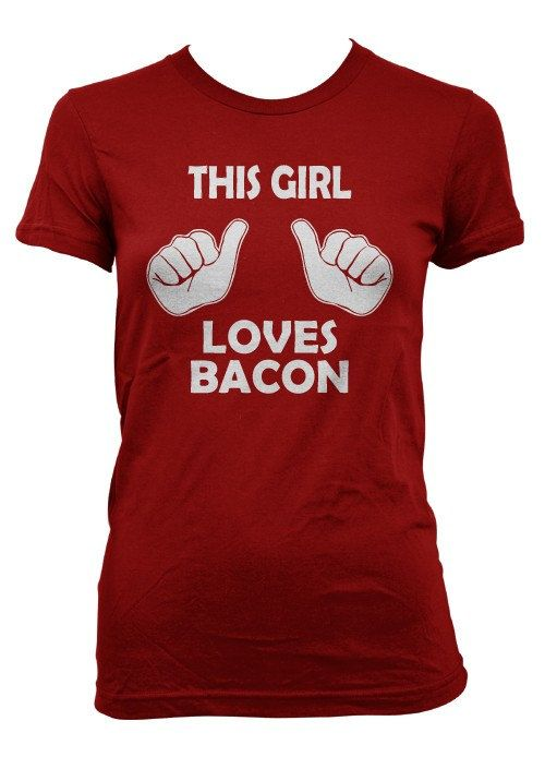 This Girl Loves Bacon t shirt funny bacon shirt S-3XL. $14.99, via Etsy.