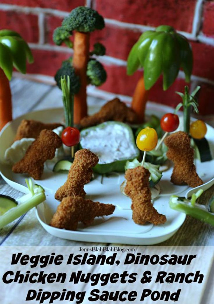Fun with Food - Veggie Island, Dinosaur Chicken Nuggets & Ranch Dipping Sauce Pond! #ad