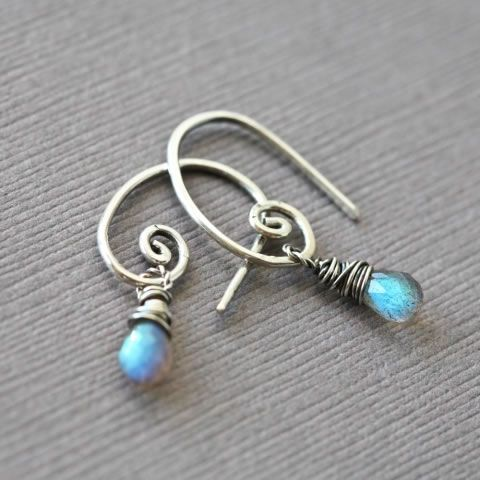 """Small Labradorite Briolette Sterling Silver Earrings"" at Mayahelena Jewelry. Cute everyday earrings. Elegant without making a big statement. AA labradorite briolettes are wrapped in oxidized sterling silver wire and hung on hand forged ear wires. Price: $36.00"