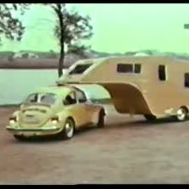 1974 VW 5th wheel: This VW can make 360's while the trailer is attached, by mounting the hitch to the center of the roofline. This evenly distributes the weight to all four tires of the VW.