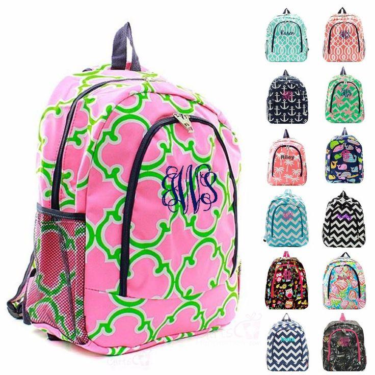 "Personalized Backpack 17"" Monogram Bookbag Book Tote Bag School Kids Boys Girls #Other #Backpack"
