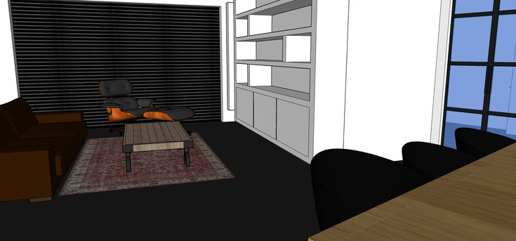 ontwerp woonkamer met kast op maat en stalen deuren.