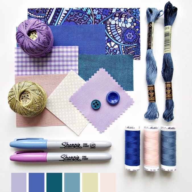 Color curated moodboard by Very Berry for #the100dayproject - teal blue purple olive green pink
