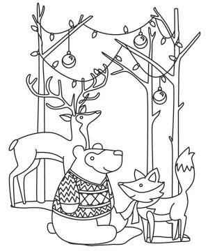 Image result for woodland christmas coloring