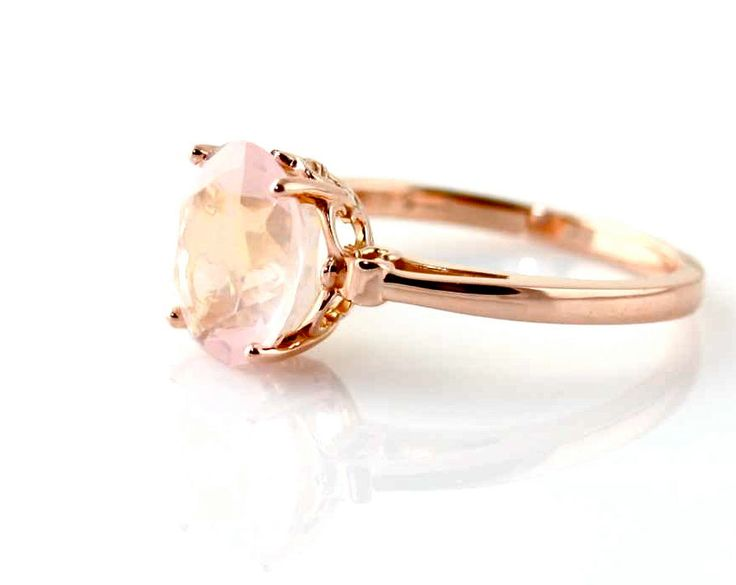 14K Rose Gold Ring Rose Quartz Custom Gemstone Ring 14K White Yellow Rose Gold Fleur de Lis. $458.00, via Etsy.