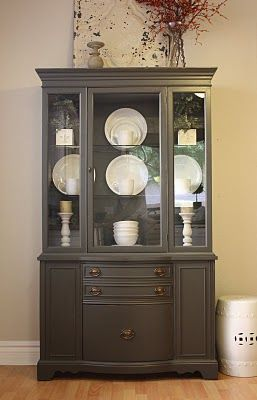 charcoal hutchPainting Hutch, Dining Room, China Hutch Redo, Furniture Colors Ideas, Diy Furniture, Redo Furniture, Painting Colors, Kitchens Furniture, Furniture Facelift