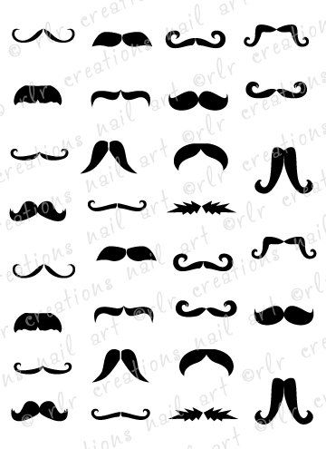 30 Mustache Assortment Water Slide Nail Art by RLRCreationsNailArt, $2.25
