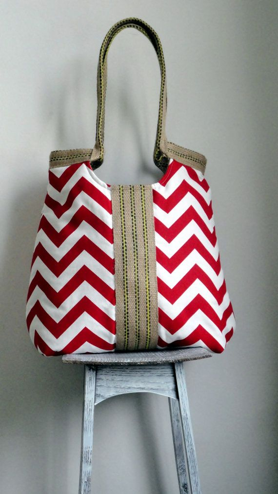 Red chevron carry on handbag with burlap by madebynanna on Etsy