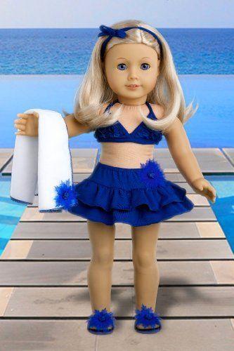 Bikini Mini - 4 piece bikini outfit includes skirt, bikini top, matching flip flops and beach blanket - Doll Clothes for 18 Inch Dolls  Price : $21.97 http://www.dreamworldcollections.com/Bikini-Mini-matching-blanket-Clothes/dp/B00805CK14