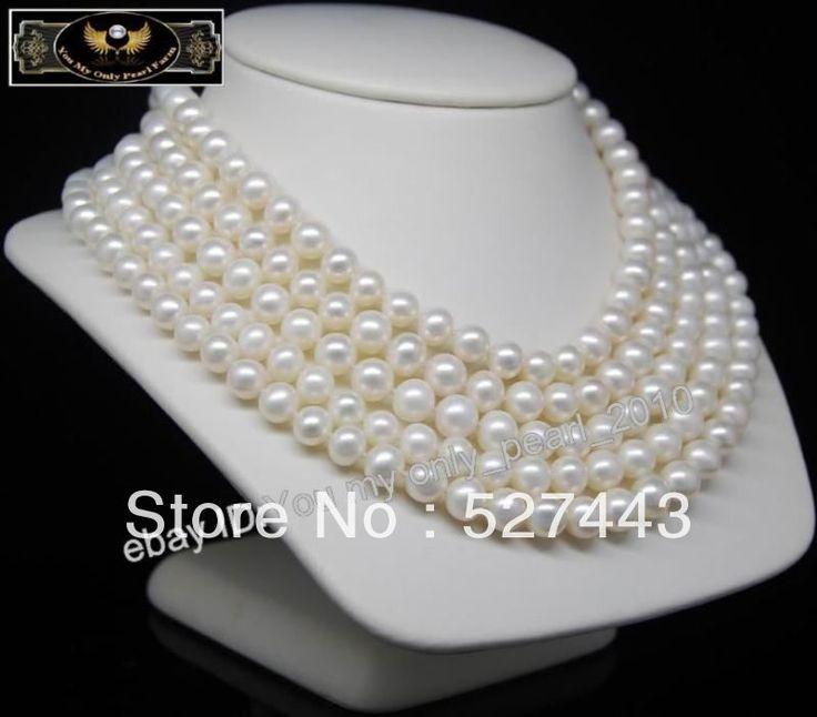 Оптовая продажа бесплатная доставка > мп  хорошо 8 - 9 мм aaa-белый жемчужные ожерелья 80  длинный