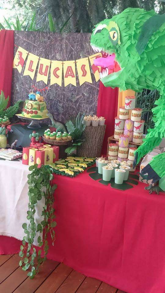 Dessert table at a dinosaur birthday party! See more party planning ideas at CatchMyParty.com!