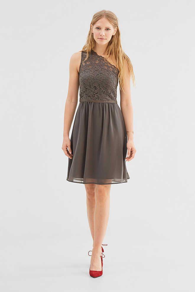 Esprit / One-shoulder-jurk van kant en chiffon