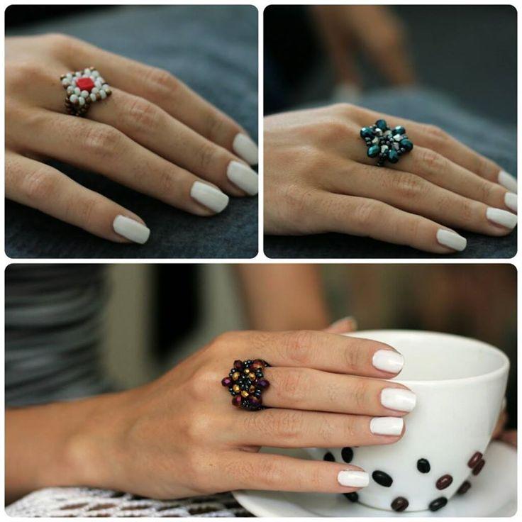 Inele handmade din margele #handmade #rings #swarovski #crystals