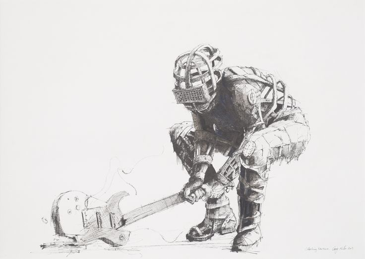 Craig Muller, Collecting fire wood, 2013, Ink and aquarelle on paper, 400 x 570mm  www.art.co.za/craigmuller.html