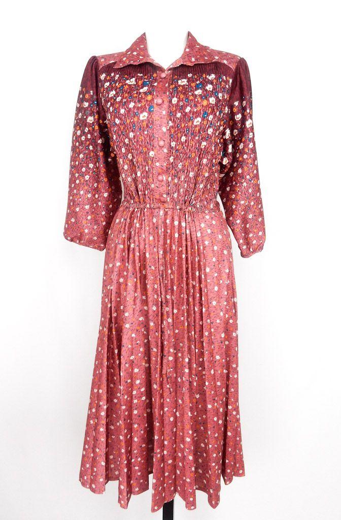 Puce Floral Vintage Dress