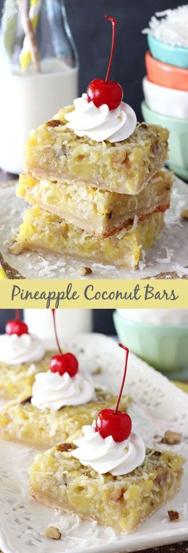 Pineapple Coconut Bars - shortbread crust with amazing pineapple coconut topping with walnuts! So good!