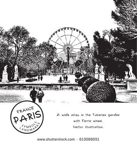 Wide alley in the park with trees, people, sculptures and a Ferris wheel. The Tuileries garden in Paris, France. Vector illustration.  The result of auto-trace adapted for easy use.