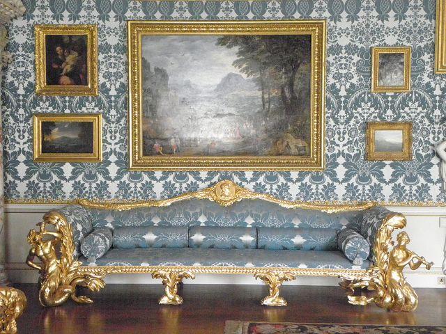 Kedleston Hall, Chair and Walling in silk and wool narrow woven damask. @KedlestonNT #walling #furniture #blue #damask #fabric #weaving #interior #design.  www.humphriesweaving.co.uk