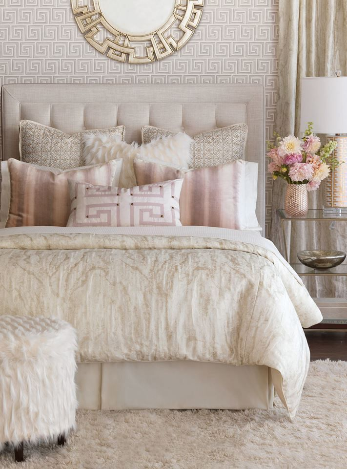 Master Bedroom Idea Cream Gold Silver Color Scheme With Pink