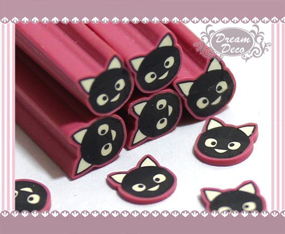 Black Cat Animal Polymer Clay Cane / Fimo Cane Stick by DreamDeco