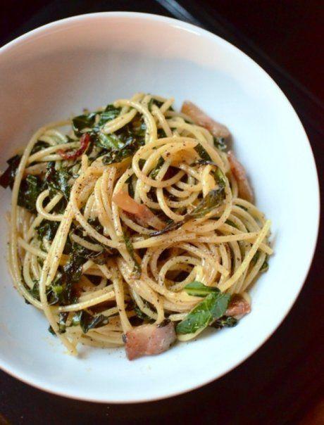 Receta: Spaguetti a la carbonara con espinacas