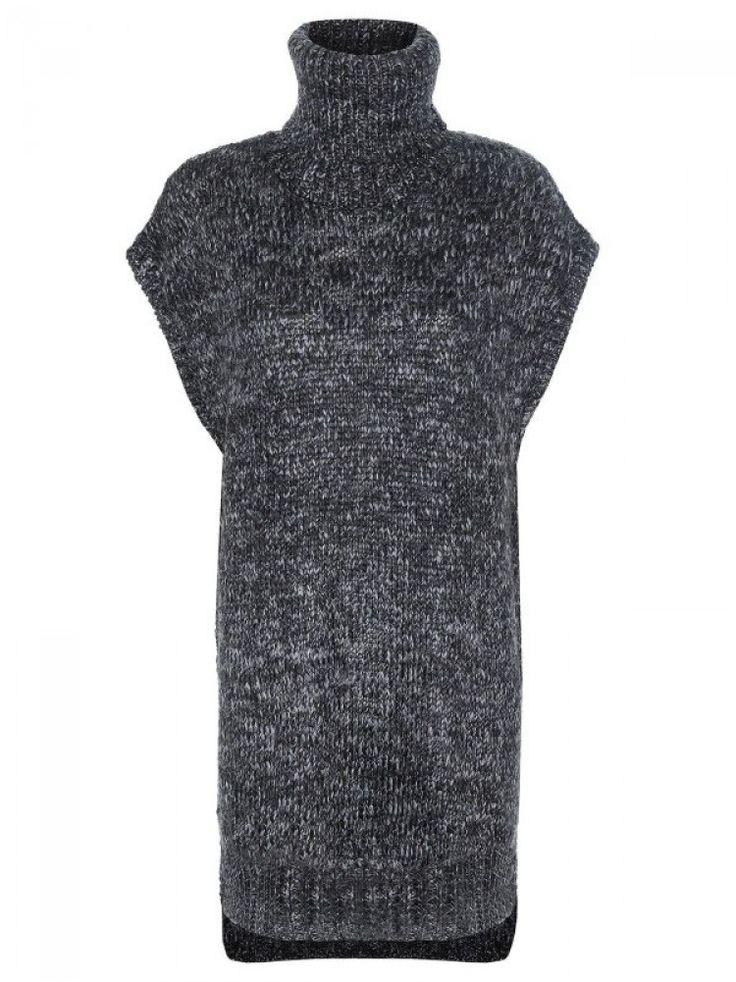 Γυναικείο κοντομάνικο πουλόβερ/ φόρεμα. Χρώμα: Γκρι