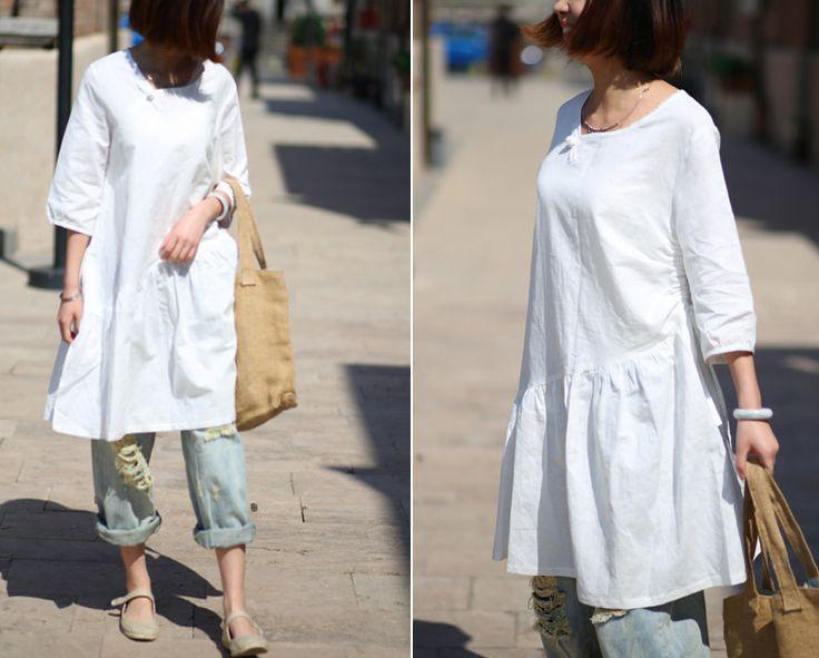 Art vintage white linen Pankou Literary dress shirt : Chemises, blouses par ebuicakebs