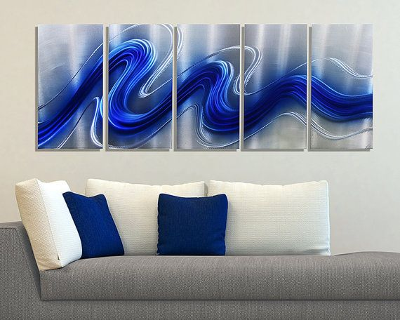 NEW! Blue & Silver Modern Metal Wall Sculpture - Abstract Metallic Hanging…