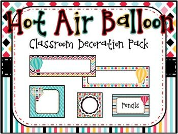 """Let me do the hard work for you so you can have the cutest and most organized classroom on campus! This is a digital """"Hot Air Balloon"""" themed decorative classroom pack. This themed pack includes: -Desk Name Plates (2 styles) -Large Blank Labels- for"""