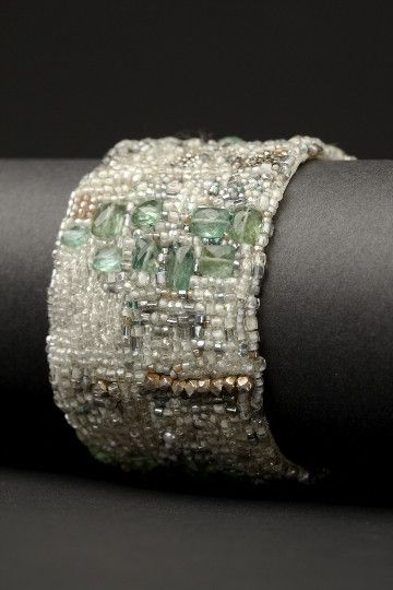 Aqua Klimt Couture Cuff by Andrea Gutierrez. Bead embroidery with beads, pearls, aquamarines and hammered clasp.