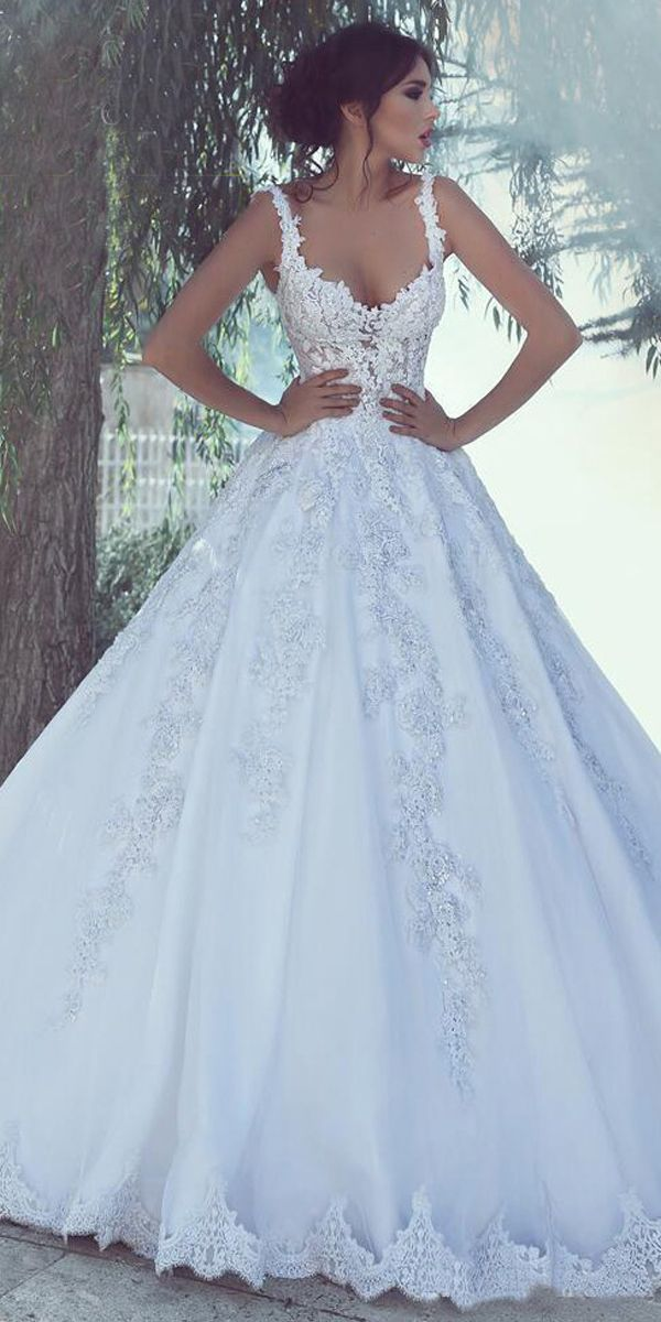 Alluring Tulle Sweetheart Neckline A-line Wedding ceremony Costume With Lace Appliques & Beadings