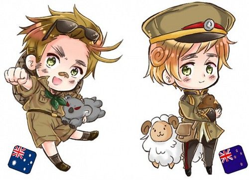 Chibi!Australia and Chibi!New Zealand. They are so adorable!! I just wanna hug 'em!!!