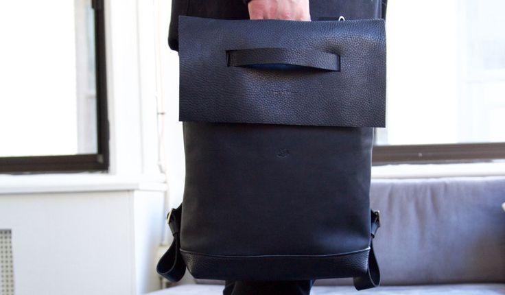 Dillinger back pack Martin Dust leather cuire sac à dos minimalist unique fit macbook Montréal black noir: