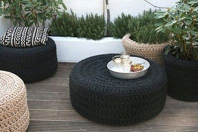 outdoor poufs  //  I wish I could knit/crochet these out of outdoor-safe cord.