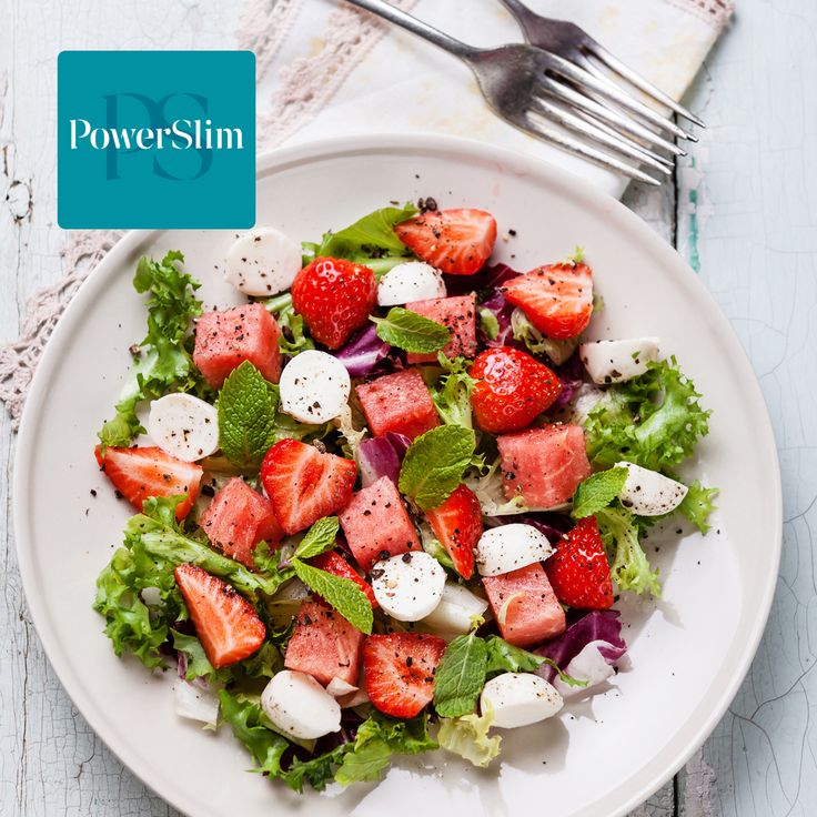 Salade met mozzarella en zomerfruit. PowerSlim fase 2a