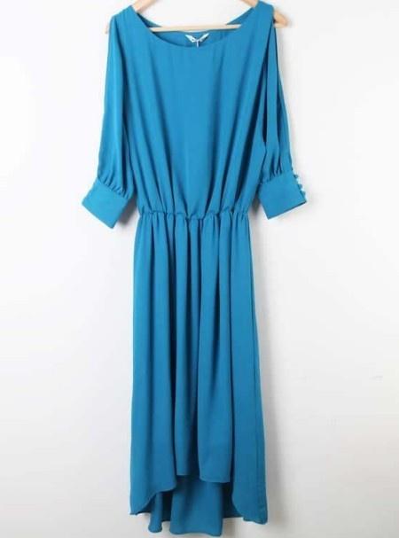Turquoise Split Half Sleeve Chiffon Pleated Long Dress