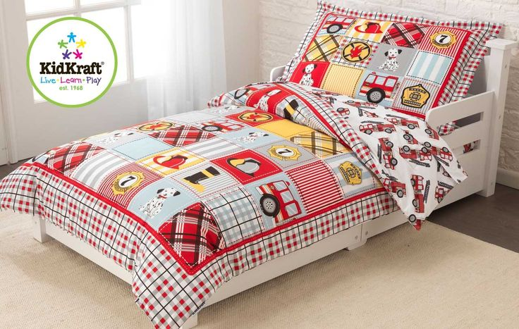 Fire Truck #Toddler #Bedding - This adorable bedding set adds a brand new layer of fun and excitement to any #young #child's #bedroom. This set is a real bargain, providing #parents with a reversible comforter, a flat #sheet, a fitted sheet and a #pillow case in one convenient package on www.eezeeshopping.com