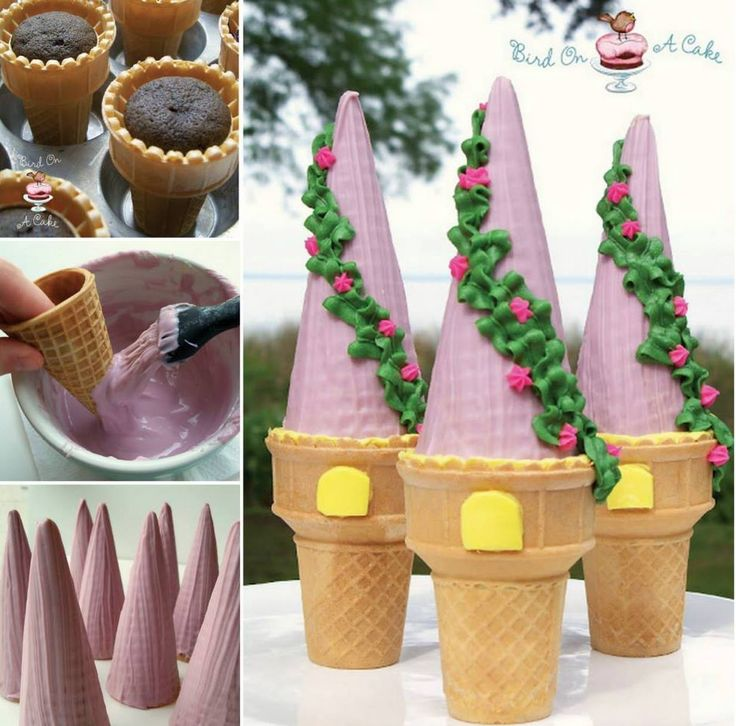 Rapunzel Tower Cupcake Cones - the Whoot