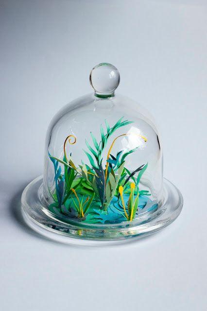 Pikczer For Ticzer cardboard, down, jar, las, lichens, mech, papercut, plant, rośliny, słoik, under glass, wycinane, bell jar