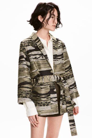 Жакет из фактурной ткани - Хаки/Рисунок - Женщины | H&M RU