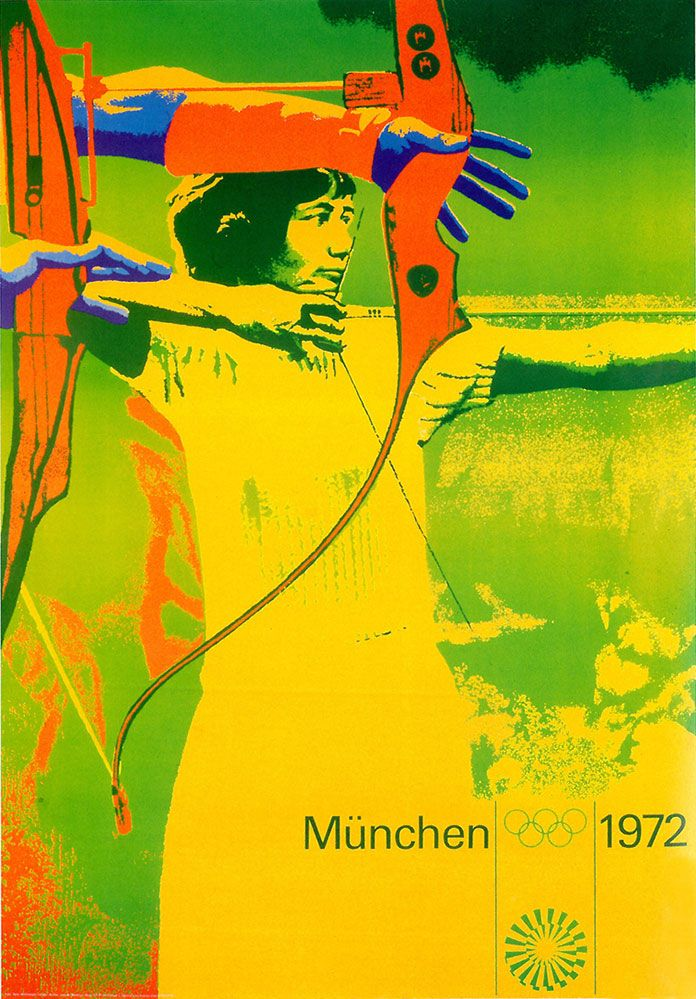Otl Aicher (1972) summer olympics. Aicher was given strict instructions to avoid the use of red and black which were colours typically associated with fascist germany. The design had to be positive (following the international design)