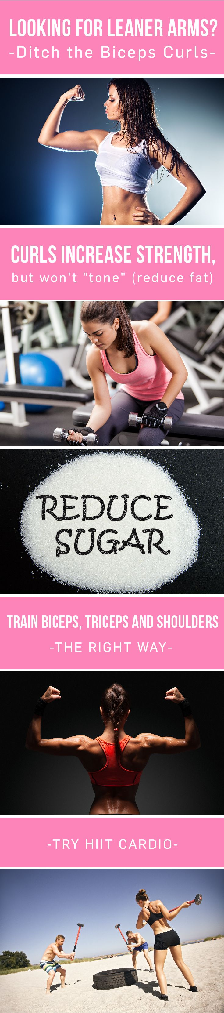 Theres no such thing as reducing fat on a particular area on your body. Bicep curls wont make your arms leaner. Instead reduce sugar calories and do squat-to-lift or -lunge exercises! #fitness #exercise #toning