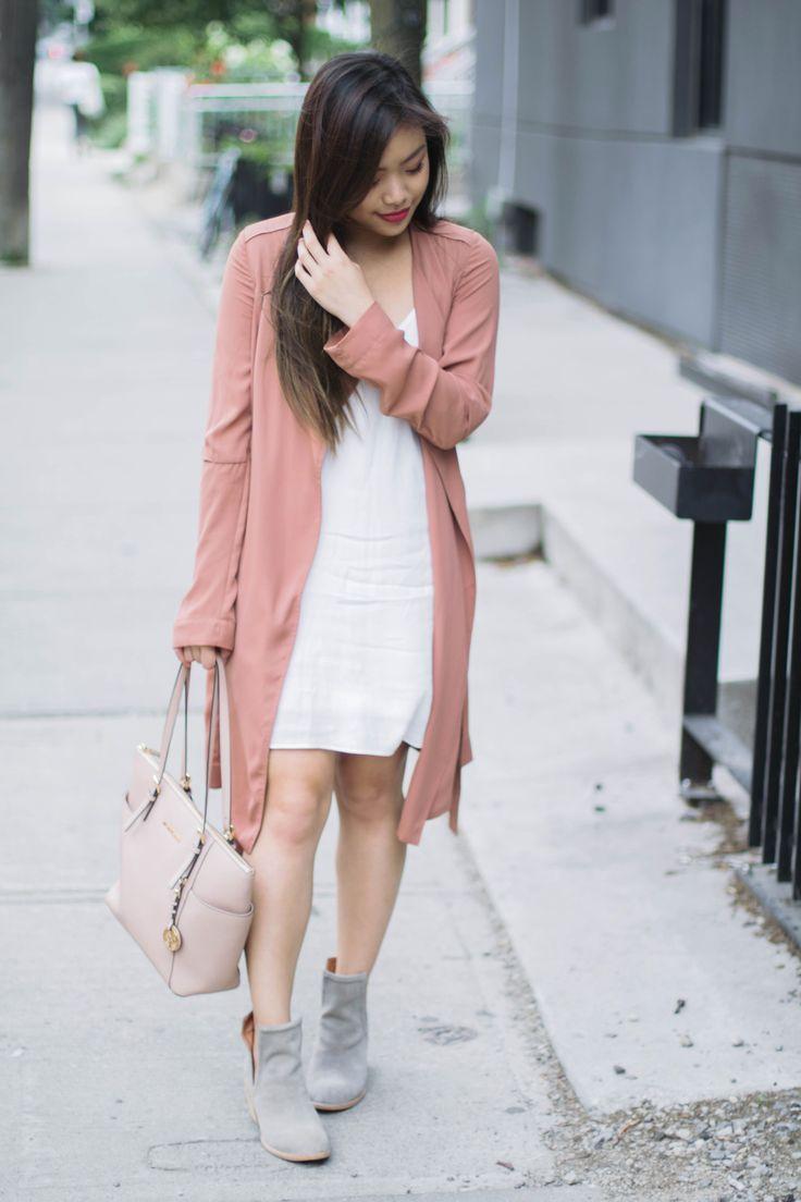 Pink trench coat + white slip dress + grey suede booties + nude bag