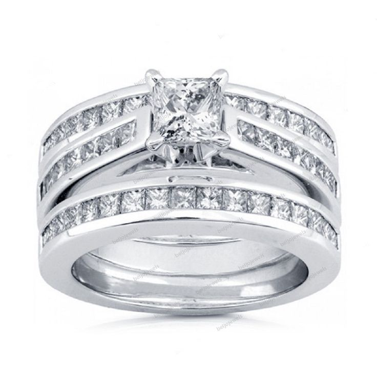 2.13CT Princess Cut D/VVS1 Diamond 925 Silver 14k White Gold Finish Bridal  Ring