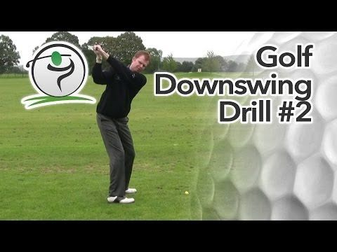 This quick and simple golf downswing drill will help you to bring the club down into the ball on the right path…  Golfers that slice the ball tend to bring the club down on an out-to-in swing path, cutting across the golf ball. Likewise, hook shots are often caused by a swing path that is too flat and on too much of an in-to-out swing path.
