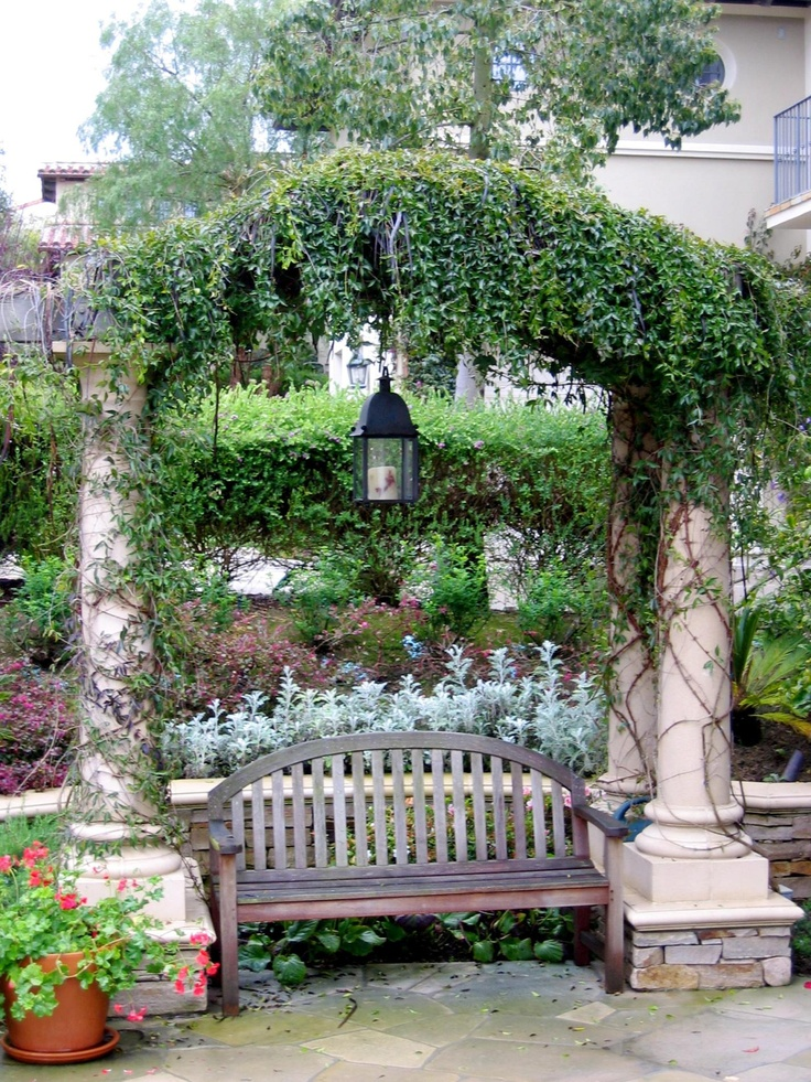Arbor Bench Patio Ideals Pinterest Gardens Courtyards And Benches