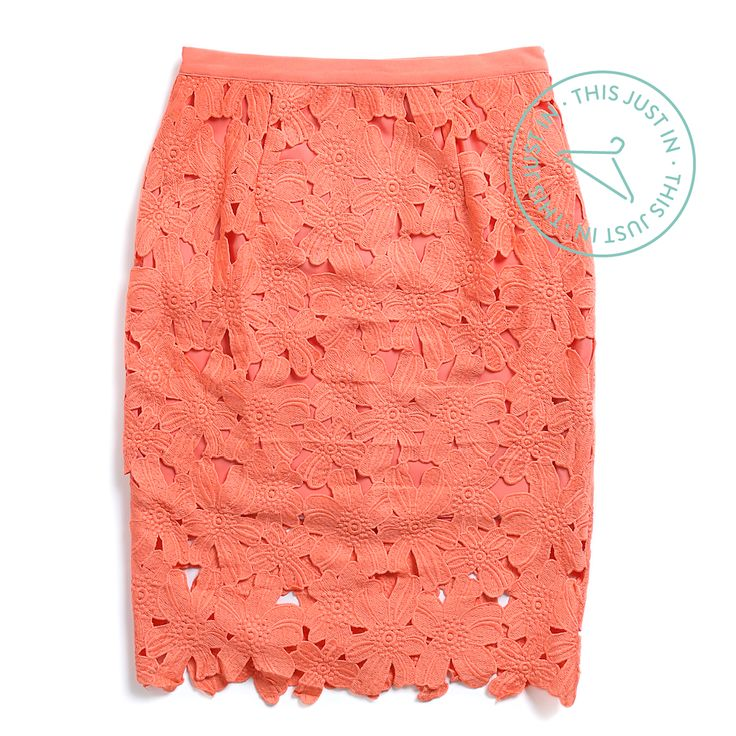 Bring on the garden party! We're #obsessed with this brand-new crochet skirt in a bright pop of coral. #ThisJustIn (Gaelle Crochet Skirt)